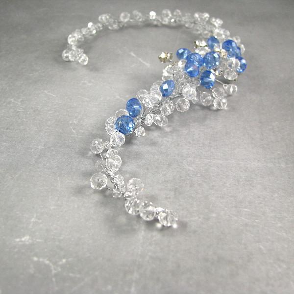 Ślubna ozdoba do włosów - błękitna gałązka Airy.