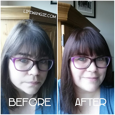 Shows the before and after photos