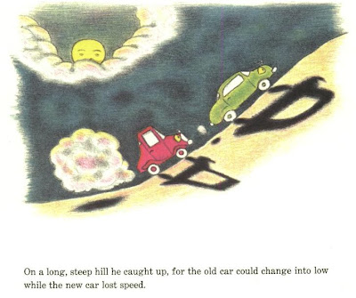 illustration of green and red car racing up a hill, scene from The Two Cars