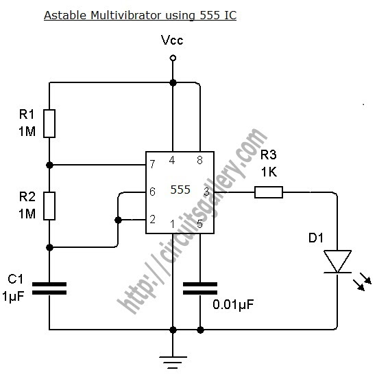 astable multivibrator using ne 555 timer ic