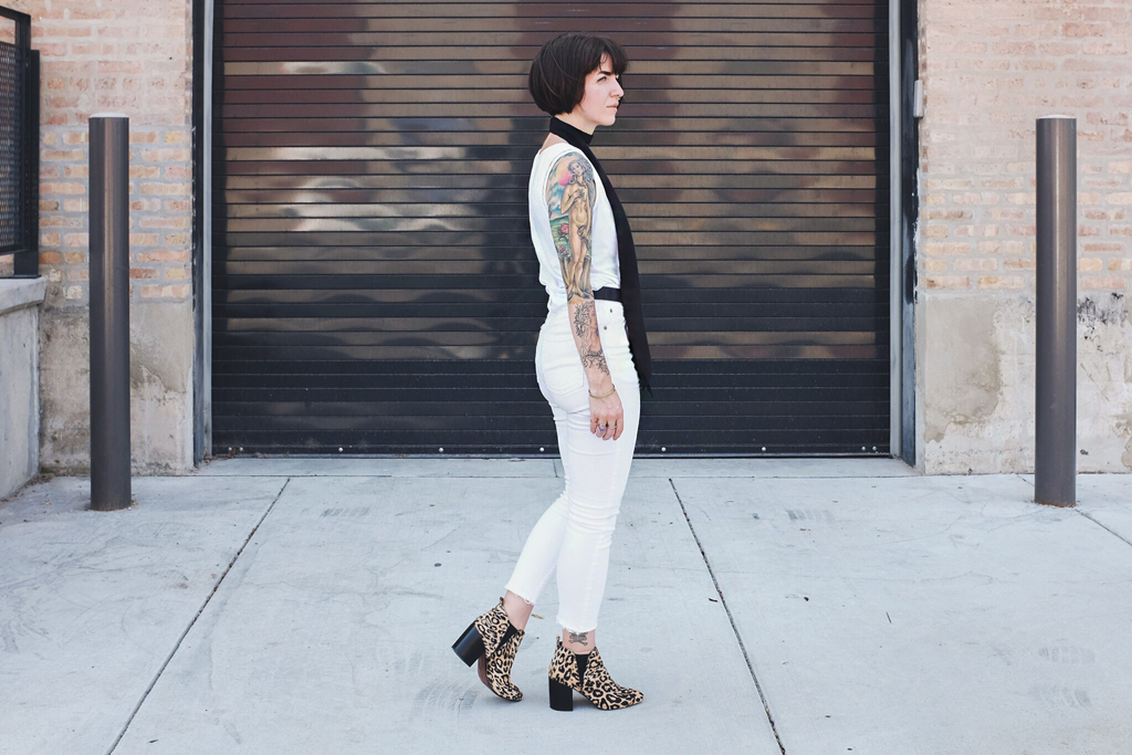 White Outfit and Leopard Print Booties - Mini Penny Blog
