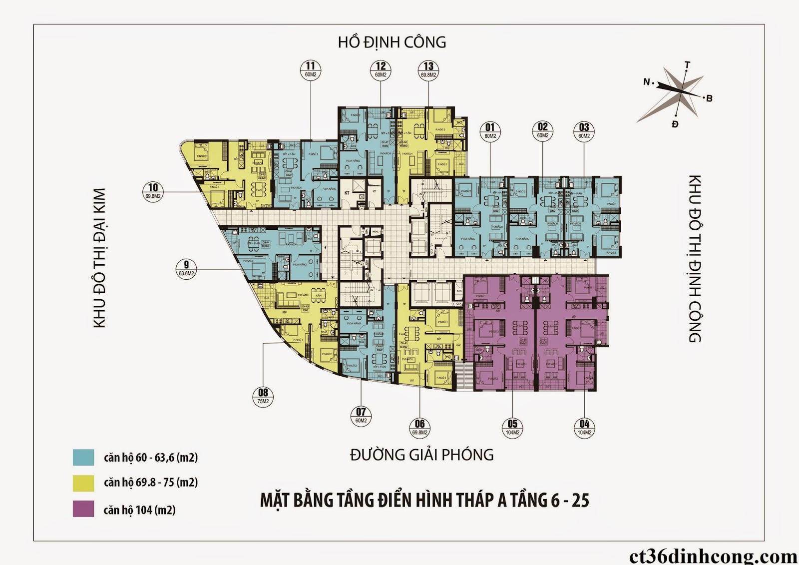 mặt bằng căn hộ tòa A chung cư CT36 Định Công