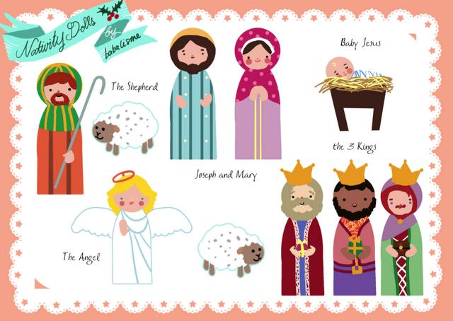 Printable christmas nativity style