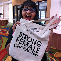 "Preeti Chhibber with a ""strong female character"" tote bag"