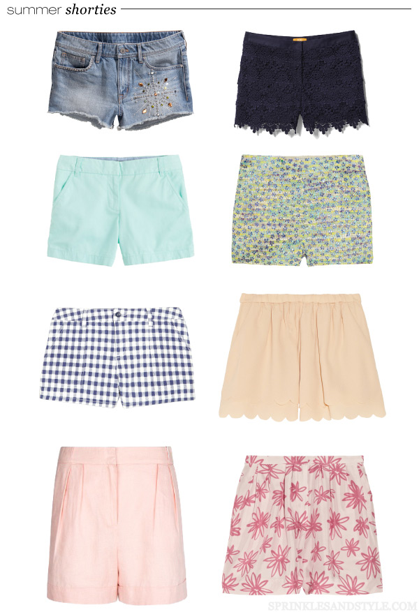 Sprinkles and Style || Summer Shorts, J. Crew Chino Shorts, Maje Scalloped, H&M Denim Shorts, J. Crew Bella Metallic Tweed, Nina Ricci Floral, Splendid Gingham Shorts, Mango Linen Shorts, Joe Fresh Crochet Shorts