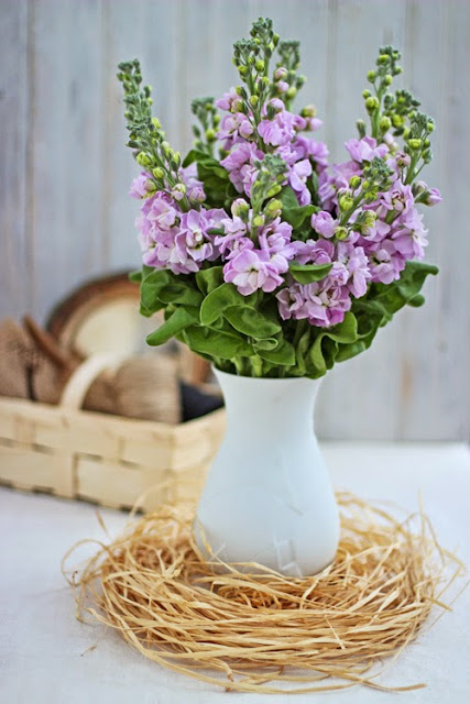 Pink Stock lowers in a white vase with raffia