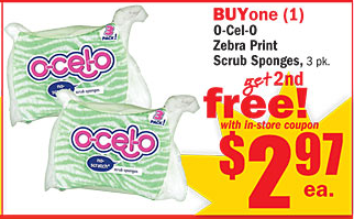 o cel o zebra print sponges 3 pk b1g1 free 297 each use the 752 o cel o sponges printable coupons found here
