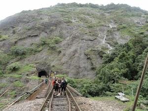 Tunnel drilled through monolith, Dudhsagar water falls trekking