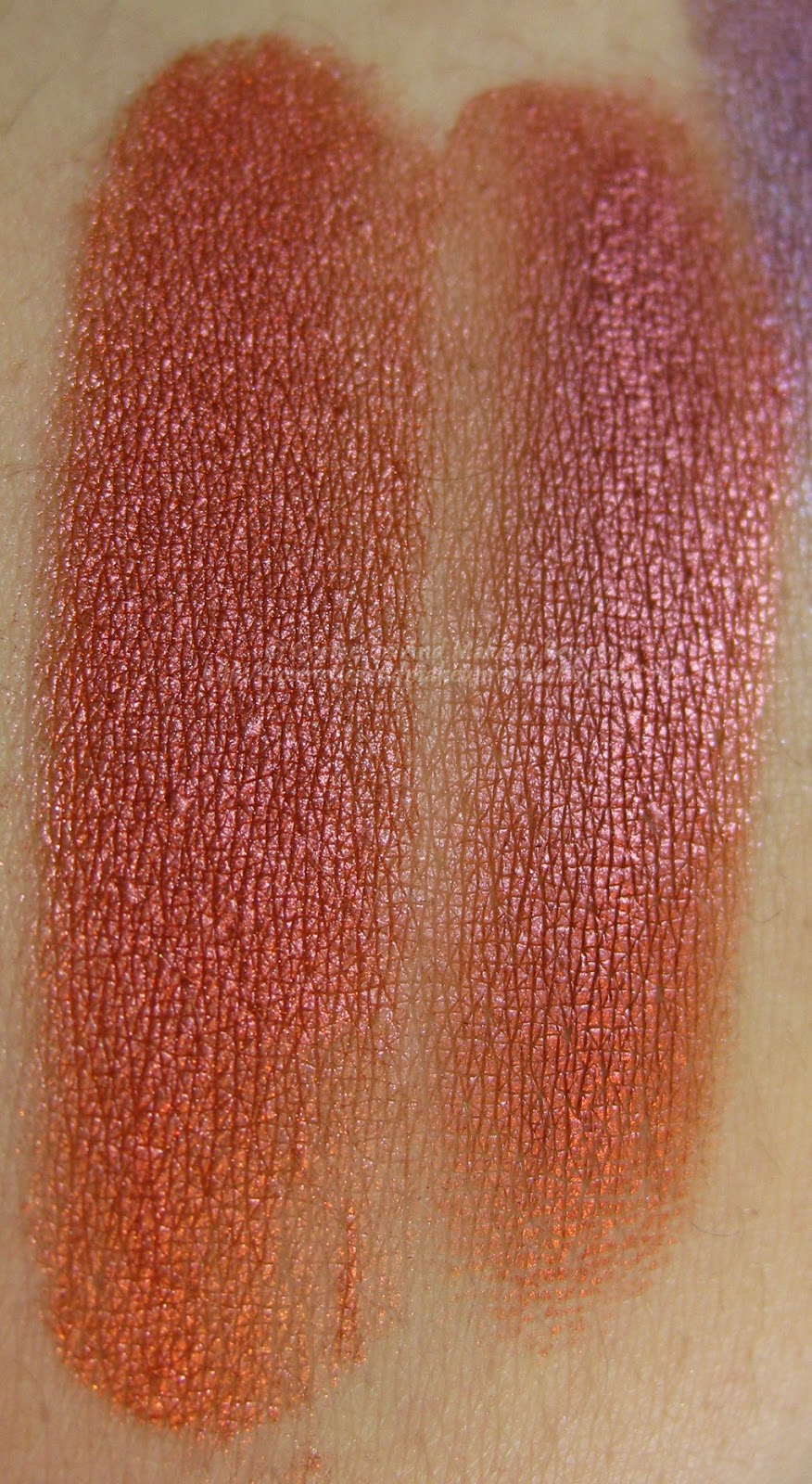 Neve Cosmetics - Pop Society Collection - Compilation swatches asciutto (sx) e bagnato (dx)