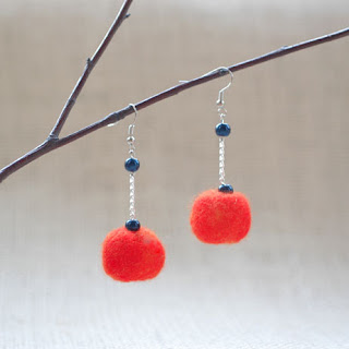 blue and tangerine summer earrings