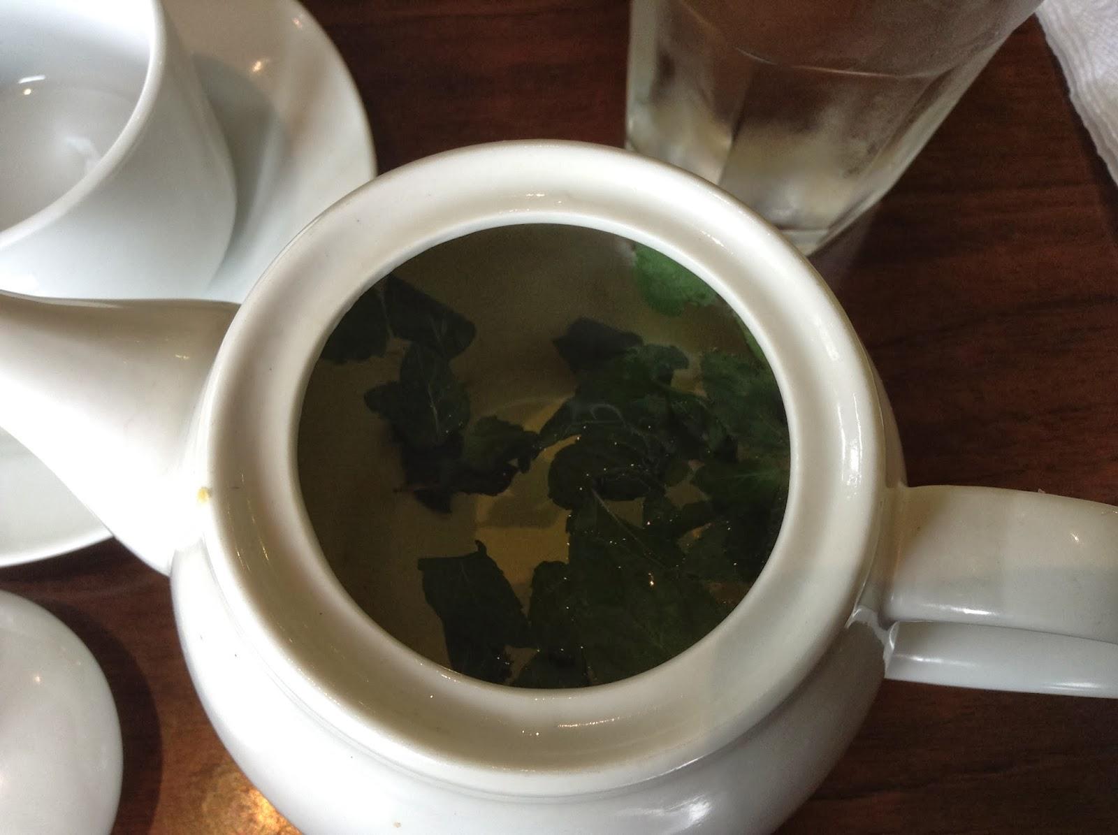 Drinking peppermint tea