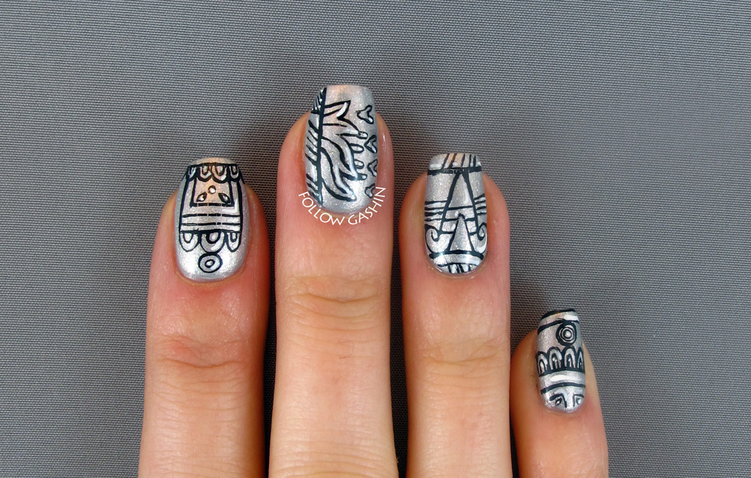 Aztec Nail Designs Black And White