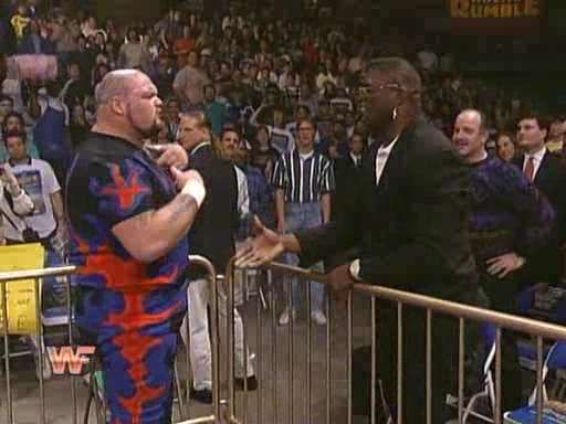 WWF / WWE: Royal Rumble 1995 - Bam Bam Bigelow confronts Lawrence Taylor