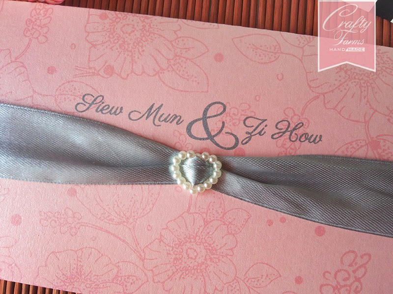 Side Fold Floral Wedding Card with Ribbon and Ivory Pearl Slider