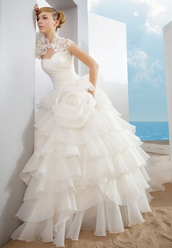 ball gown wedding dress with ruffles