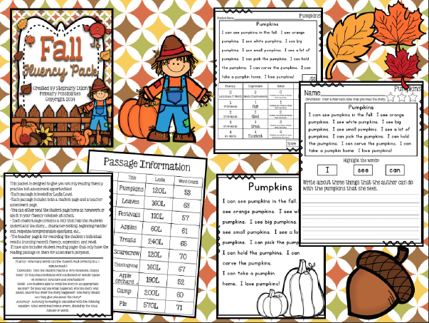 http://www.teacherspayteachers.com/Product/Fall-Themed-Fluency-Passages-1229244