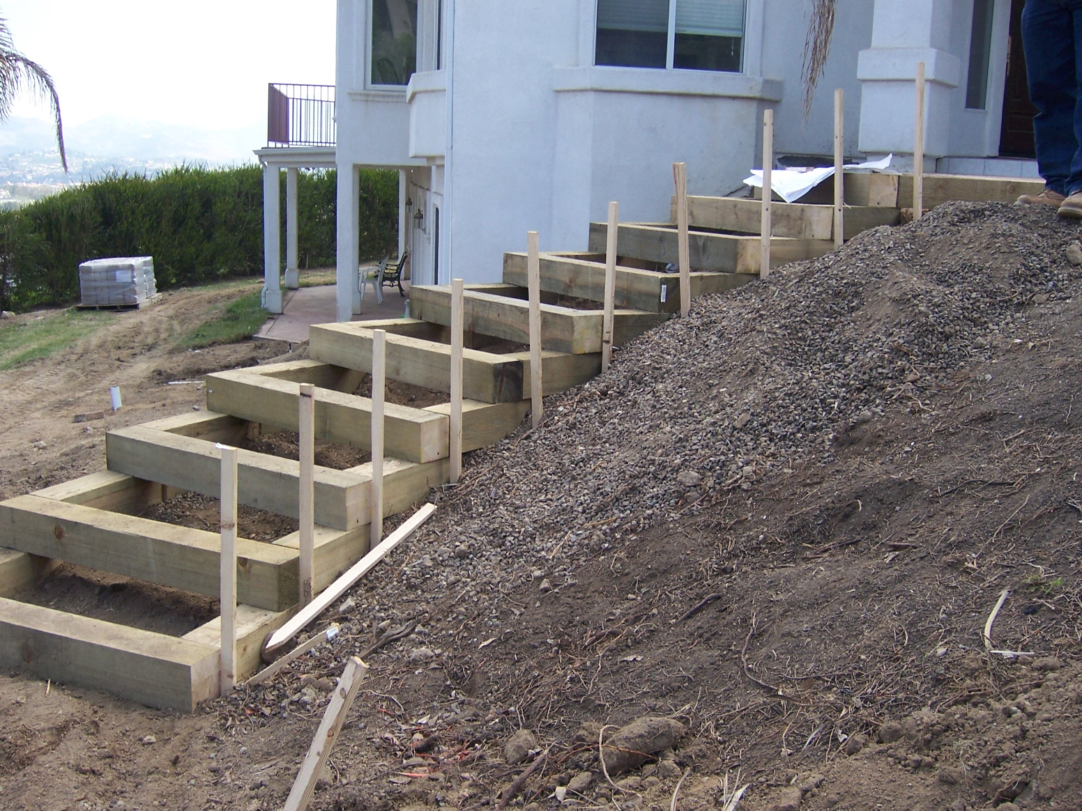 Here Are Some Photos Of Landscape Timbers Stairs From One Of My Jobs