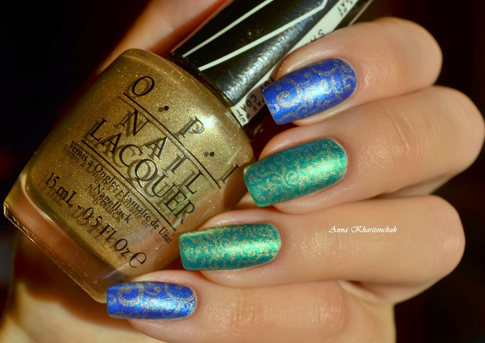 Дуэт EL Corazon Matte&Shine Effect m&s-161 и EL Corazon Matte&Shine Effect m&s-163 + стемпинг