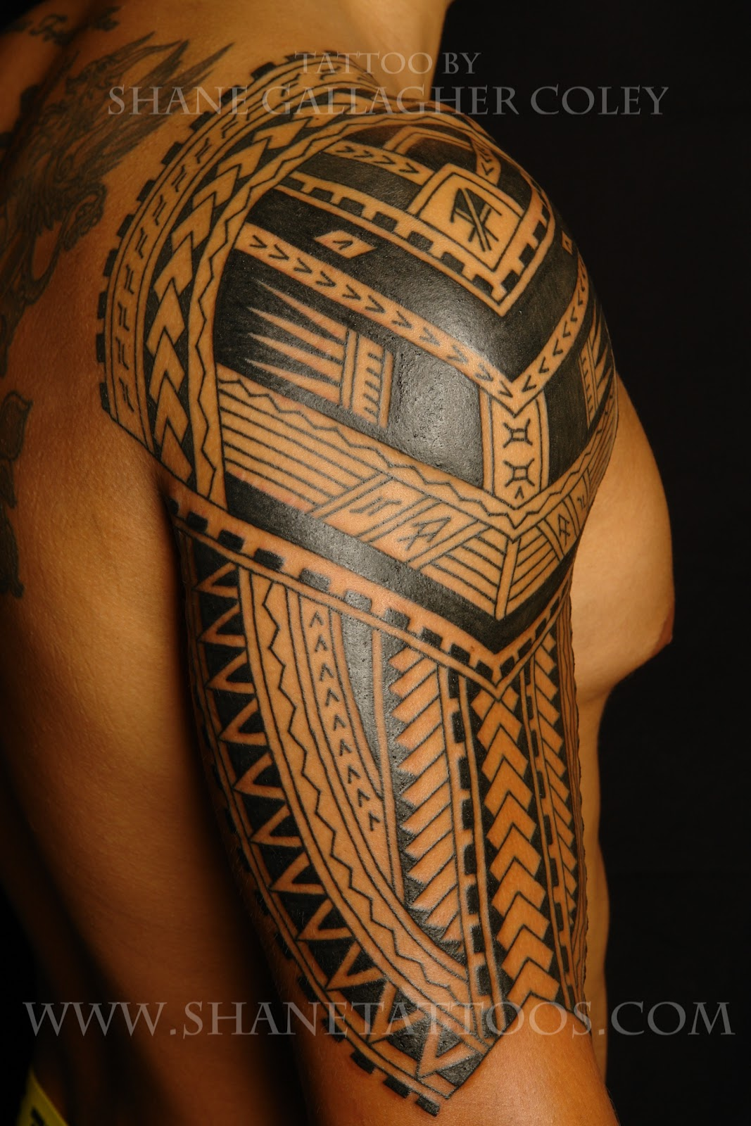 shane tattoos polynesian sleeve in progress