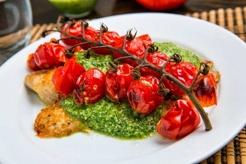 wrong with this parmesan crusted pesto tilapia with roasted tomatoes