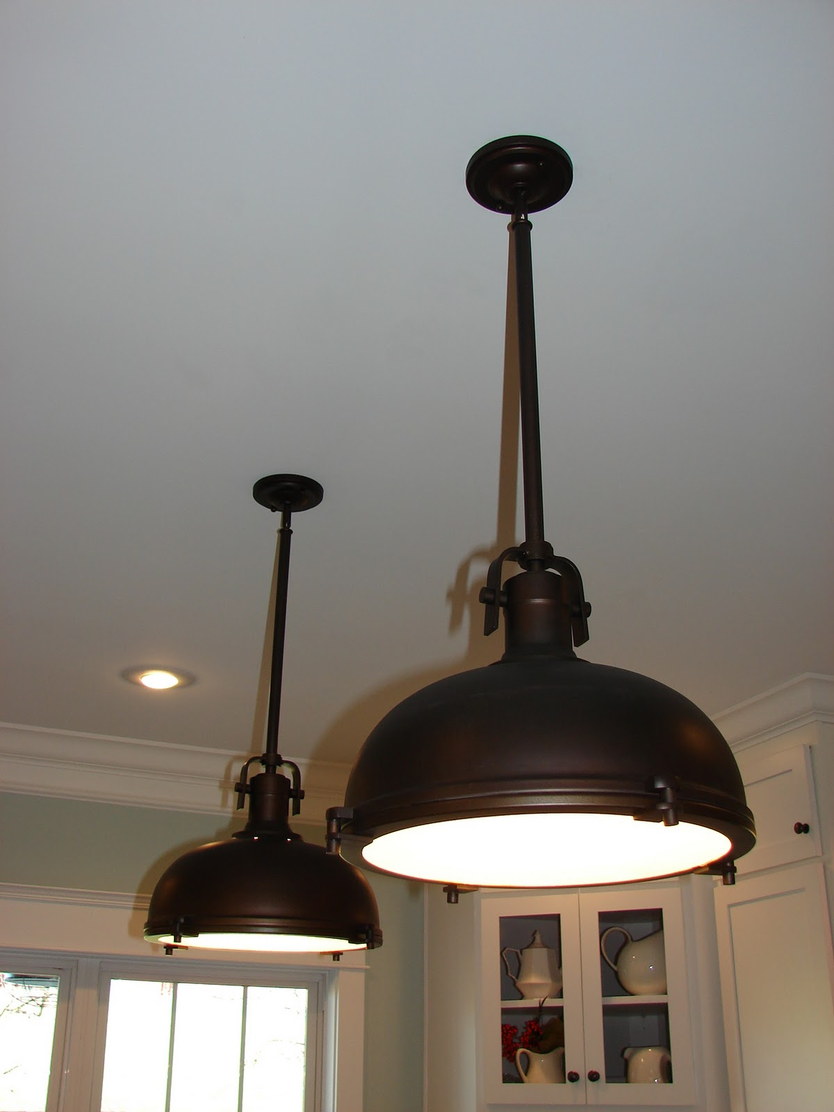 Cobblestone farms my new farmhouse kitchen the fixtures for Over island light fixtures