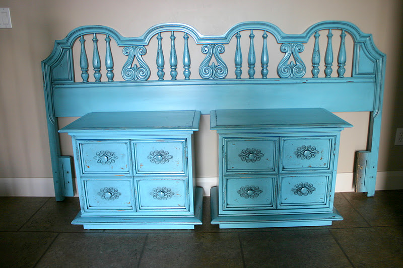 Doubletake Decor Funky Teal Headboard Nightstands