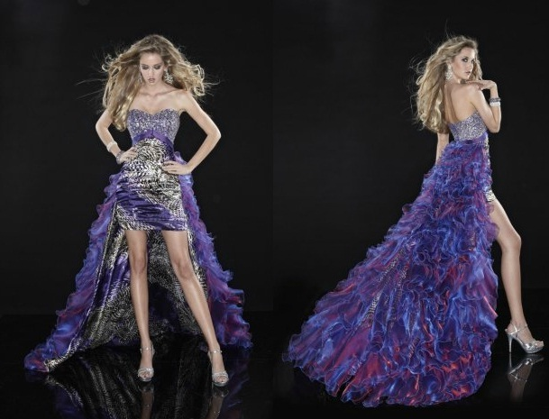 purple high low prom dress