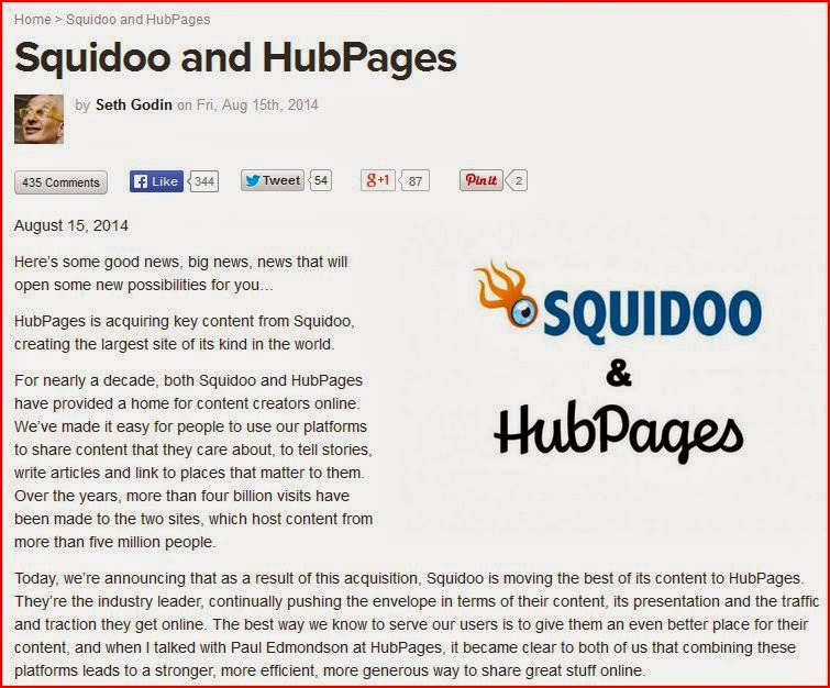 squidoo and hubpages big news from seth godin august 15 2014