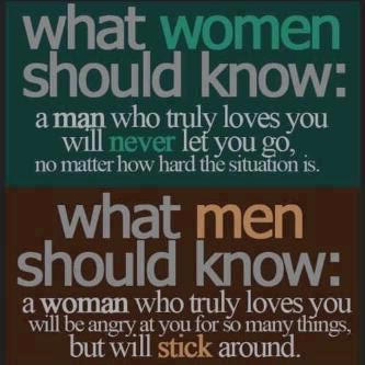 What women should know: a man who truly loves you will never let you go, no matter how hard the situation is.
