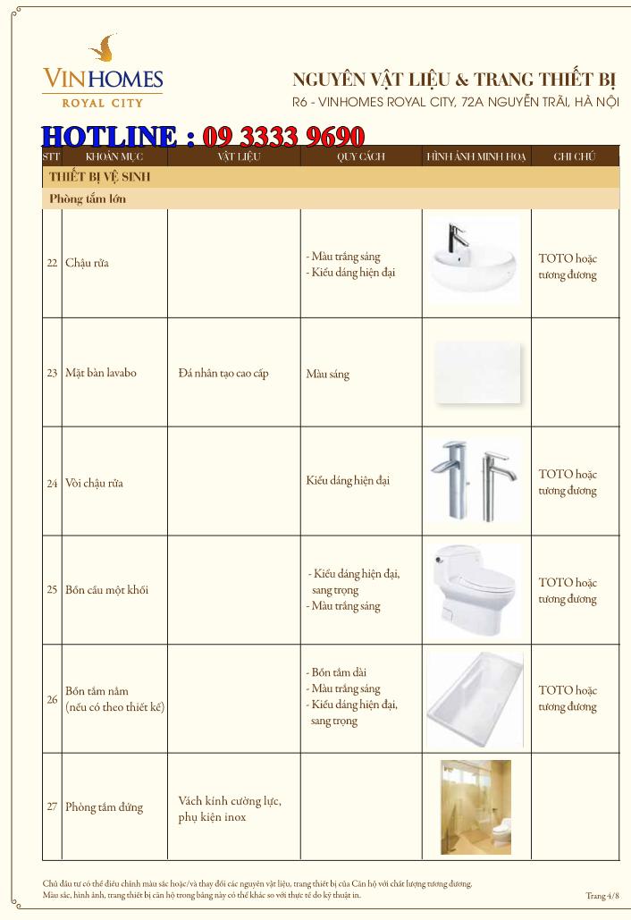 Bảng nguyên vật liệu căn hộ hạng sang Royal City R6 - Trang 4
