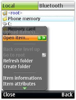 Phần mềm quản lý file BlueFTP cho điện thoại java