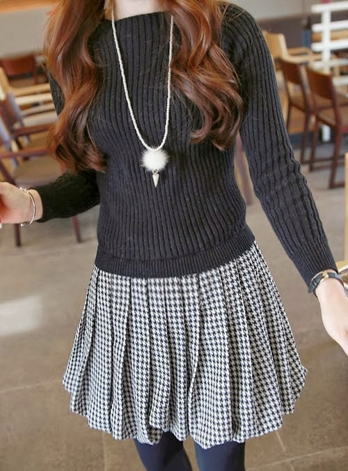 Rib and Houndstooth Dress