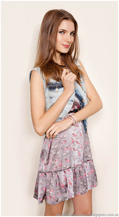 Vestidos ideales para el verano 2014 de la colección de indumentaria Gloria Jeanswear 2014.