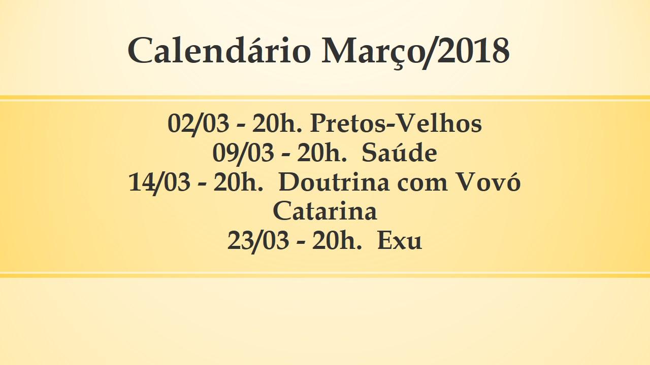 Calendário Março/2018