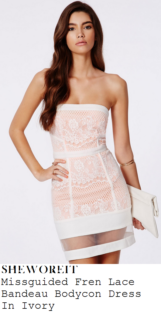 jasmin-walia-white-and-nude-strapless-bandeau-lace-mesh-floral-bodycon-mini-dress-ibiza