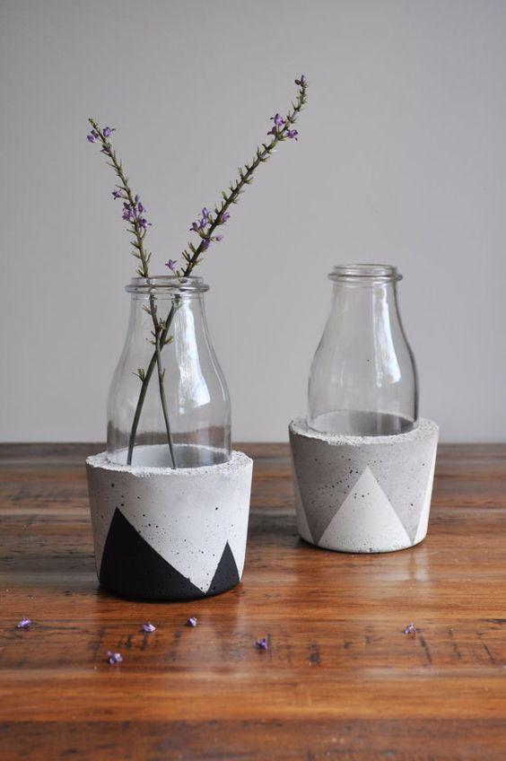 vaso de concreto e vidro