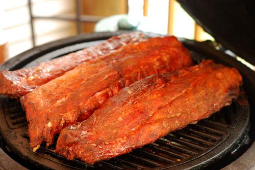 Baby back pork ribs, smoked ribs, championship ribs, BGE ribs, grill dome ribs