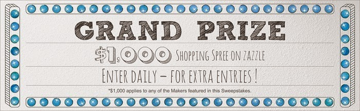 image USA Sweepstake Announcement  30 Days of Maker Giveaways on Zazzle. Enter daily fo bonus entries