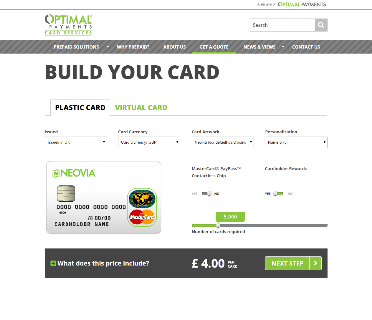 Optimal Payments Card Services website - built by Fifth Dimension