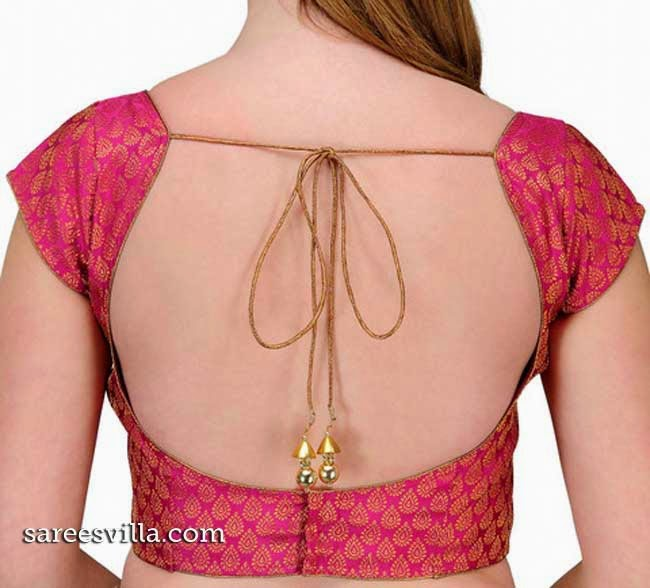 Back Strings Blouse Designs with Tassel/Latkans