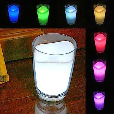 Luz LED con aspecto de vaso de leche