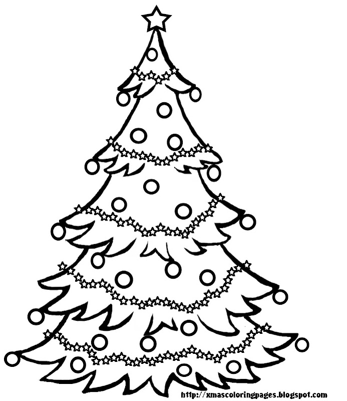 CHRISTMAS TREE COLORING PAGE BLACK AND WHITE title=