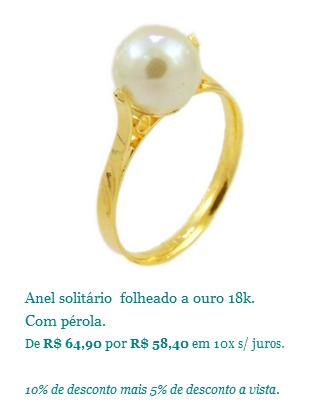 anel de perola semi joia