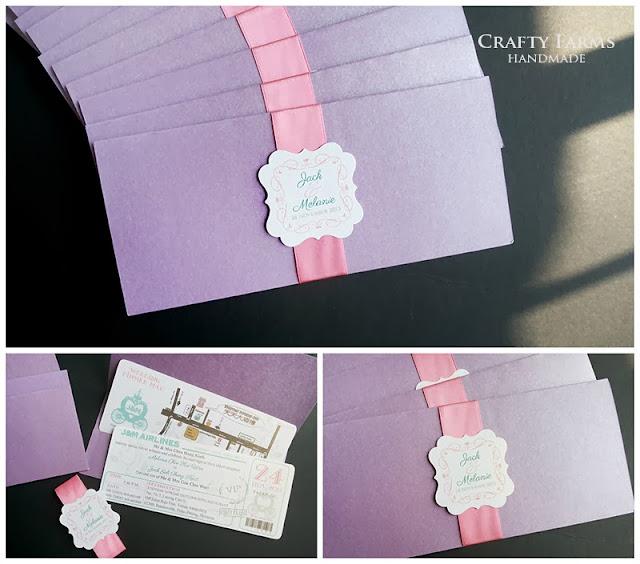 pink purple boarding pass Penang wedding card