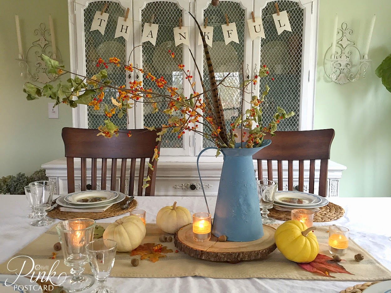There was always a lady riding through the neighborhood on a grandma-size three wheeler bike. & vintage rustic Thanksgiving table setting and a story - Noble Vintage