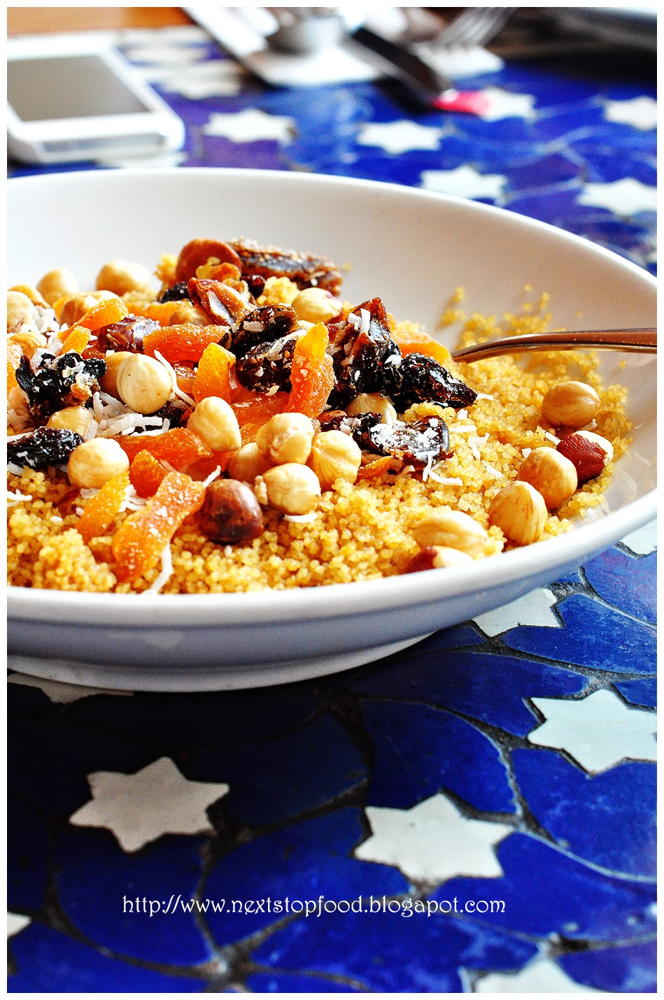 Sweet Couscous with Nuts, Dried Fruits, Stewed Rhubarb, Cardamom Milk