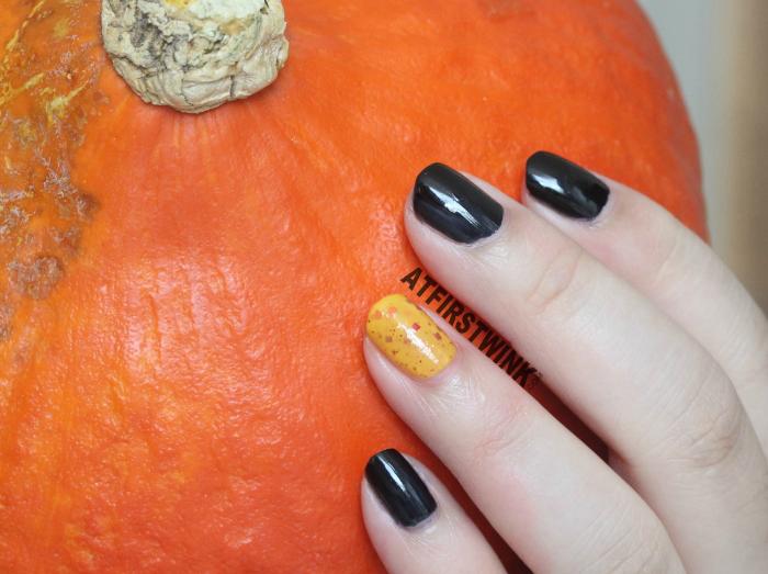 Halloween 2014 nails aritaum modi nail polishes black with pumpkin orange glitter