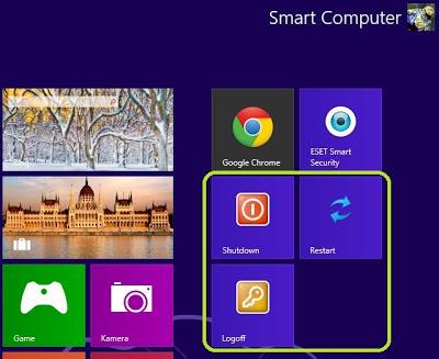 Membuat Tile Shutdown, Restart dan Logoff via Script PowerShell di Windows 8
