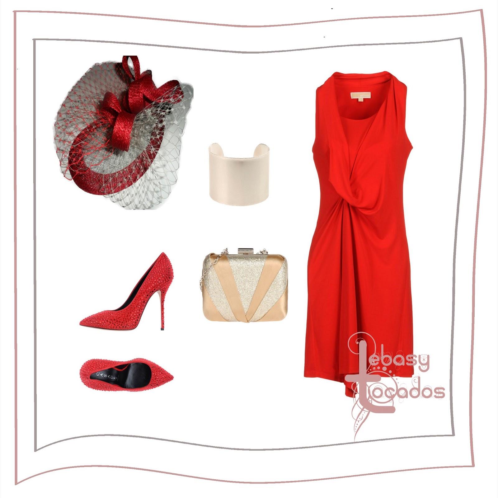 Tocado rojo de Lebasy Tocados a juego con zapatos y vestido