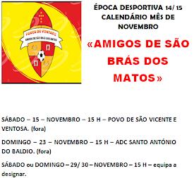 CALENDÁRIO MÊS NOVEMBRO - AMIGOS DE SÃO BRÁS DOS MATOS - ÉPOCA 14/ 15